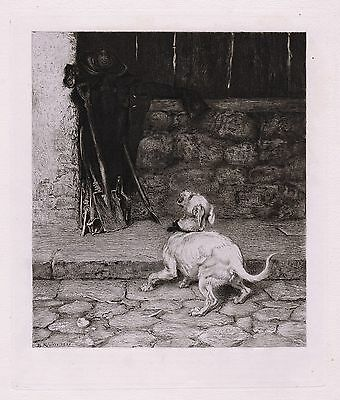 "1800s BRITON RIVIERE Etching ""William Shakespeare's Twelfth Night"" SIGNED COA"