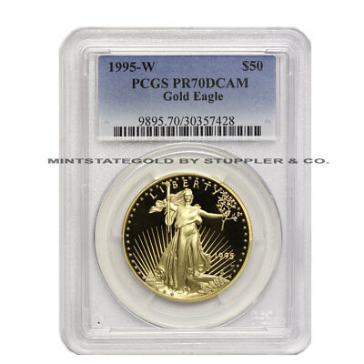 1995-W 1oz $50 Gold American Eagle PCGS PR70 DCAM Deep Cameo Proof Bullion Coin