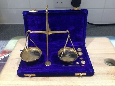 Miniature Brass Weighing Scales with Various Weights and Tweezers