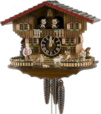 "10.5"" Tall Goat Feeding/ Heidi House Black Forest Cuckoo Clock"