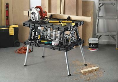 Folding Compact Sawhorse Work Table/Workbench With Clamps Black/Grey Heavy-Duty