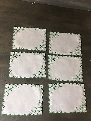 6 Madeira embroidery cocktail napkins white linen with green