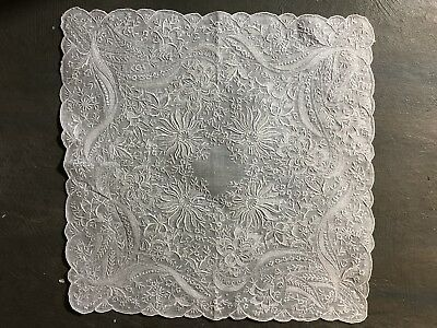 Vintage hand embroidered wedding bridal hankie 90% covered