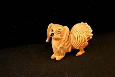 Tan Enamel Vintage 1950s Pekingese Dog Pin