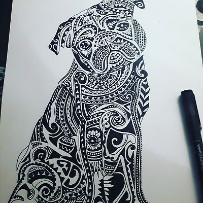 Hand Drawn pug picture.Unique gift!! @LOOK@ Framed