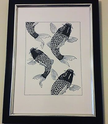 Original koi drawing. Framed and signed. Unique gift. Fish lovers