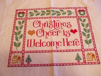 "Hand Embroidered Counted Cross Stitch Finished Unframed Picture ""christmas Cheer"