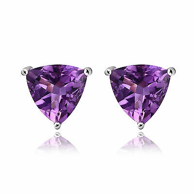 1.6ct Genuine Purple Amethyst Trillion Solid Sterling Silver Stud Earrings