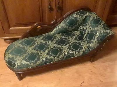 Antique Vintage Salesman Sample Miniature Doll Size Chaise Lounge Fainting Couch