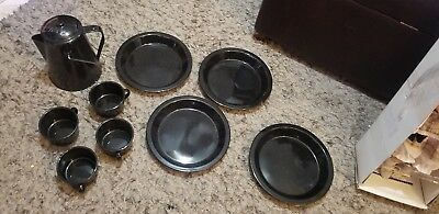 Vintage 9 PC Set Graniteware Black Camping Cups Plates & Pitcher