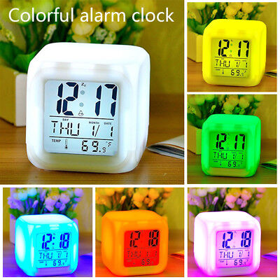 7 Color LED Change Digital Glowing Alarm Clock Night Light For Kids Bedroom