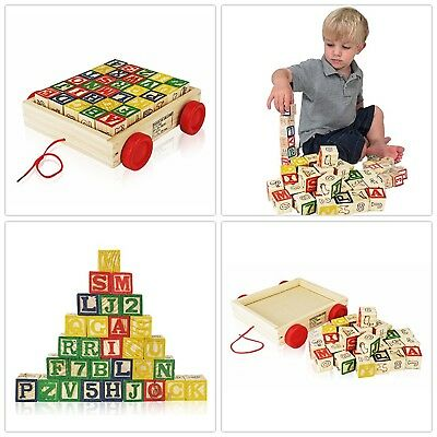 Alphabet Blocks Wooden Vintage Toddlers Learning Toys Wood Block Letters w/Wagon