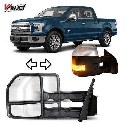 For 15-17 Ford F-150 Truck 8 Pin Towing Mirror Power Heated Turn Signal Chrome