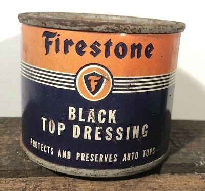 Vtg Firestone Black Top Dressing 8 Oz. Oil Can Unopened Gas & Oil Station Rare