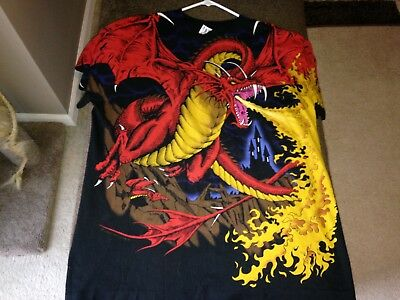 Vintage 1993 Liquid Blue Dragon T Shirt Large XL 90s All Over Print Knight Dead
