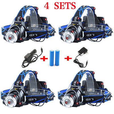 6000Lumens T6 LED Zoomable Headlamp Rechargeable 18650 Headlight HeadLamp Lot #