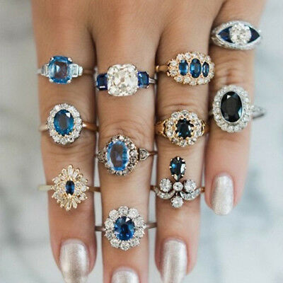 11Pcs Vintage Inlaid Sapphire Ring Flower Ring Women Fashion Jewelry Gift