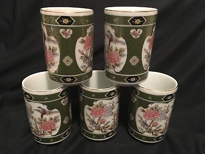 PORCELAIN SAKE/TEA CUPS ORIENTAL ASIAN FLORAL GOLD RIM SET of 5