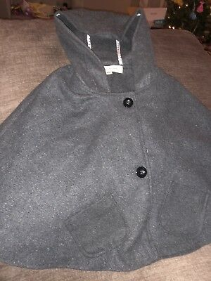 New Girl Toddler 2T Wool Hooded Poncho Charcoal Grey Gray