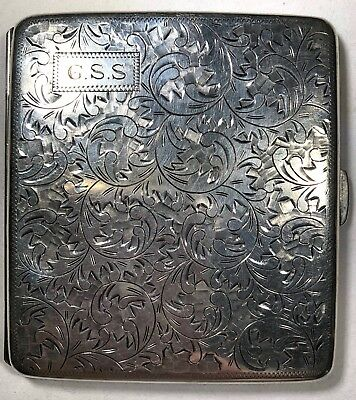 1920's Art Deco Intricately Carved Sterling Silver (950) Cigarette Case