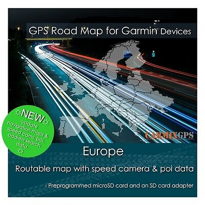 2019 Europe City Road Maps - microSD-SD Card for Garmin GPS Navigator