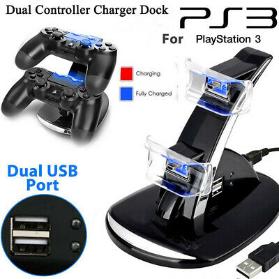 Dual Fast USB Charger Stand Dock Station for PlayStation PS3/MOVE Controller --