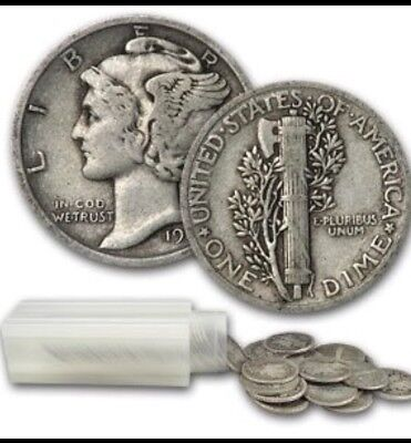 Roll of 50 Average Circulated Mercury 90% Silver Dimes