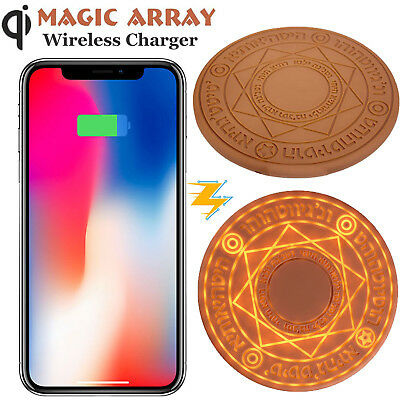 Magic Array Glowing Qi Wireless Fast Charger Pad 10W for iPhone X Samsung Huawei