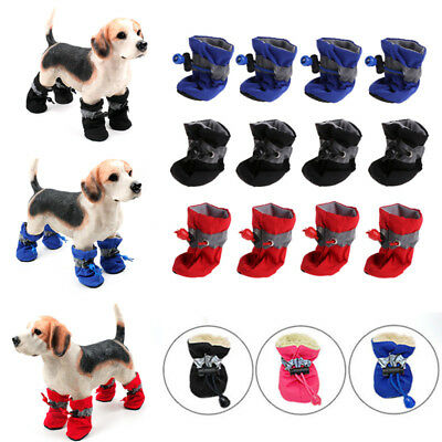 4Pcs Winter Warm Pet Dog Shoes Anti-slip Rain Snow Boots Puppy Dog Socks Booties