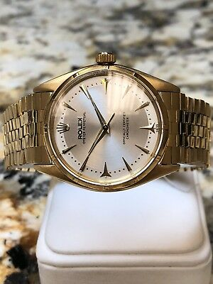Rolex Oyster Perpetual Vintage 18K Gold Ref. 6565 Mens Watch W/ Rare 18K Band!!!