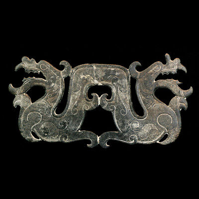 Late Qing to early Republic green plaque depicting a double headed dragon, y2756
