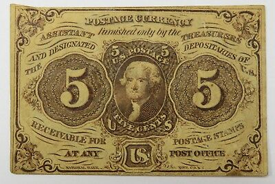 1862 5 Cents 5c FR 1230 Thomas Jefferson Fractional Postage Currency #19402F