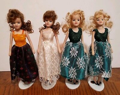 Lot of 4 Small Dolls Bisque Band Jointed Dolls