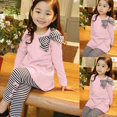 Toddler Girl Kids Long Sleeve Bow Blouse Shirt+Stripe Pants Trouser Outfits Set
