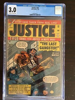 Justice 48 CGC 3.0 OW-W 1954 pre-code golden age gem Gangster only one on census