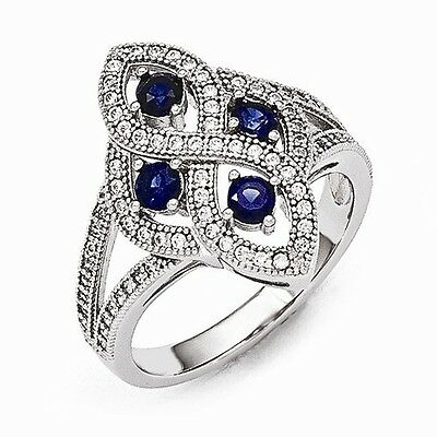 Brilliant Embers Antique Style Sterling Silver  Cz Ring - 84 Stones - Size 6