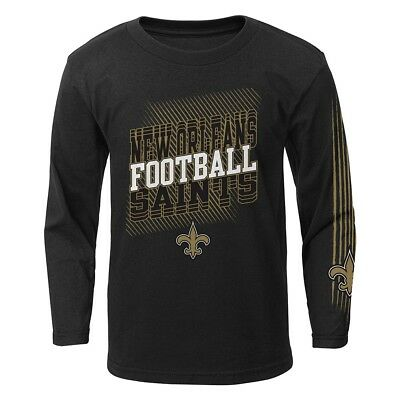 """New Orleans Saints Outerstuff NFL Boys Black """"Frequency"""" Long Sleeve T-Shirt"""