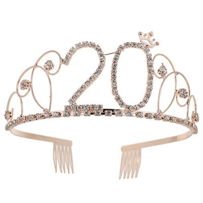 FT- Bridal Shining Hollow Rhinestones Number 20 Crown Tiara Headband Comb Pin No