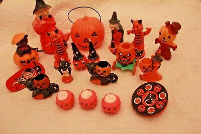 Vintage Halloween Decoration Lot Candy Holder Toy Pull Gurley Candle Noice Maker