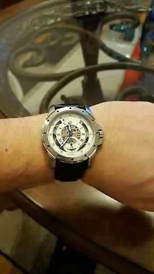 004fb94f4 HERITOR ARMSTRONG AUTOMATIC Silver Skeleton Dial Men's Watch HR3401 ...