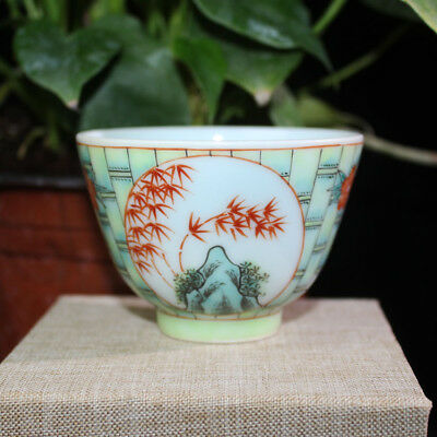 Chinese Old Marked Famille Rose Colored Bamboo Pattern Porcelain Cup