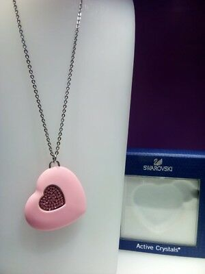 "Swarovski Active Crystals Heart Pink USB Memory Key 4 GB with 35"" silver chain."