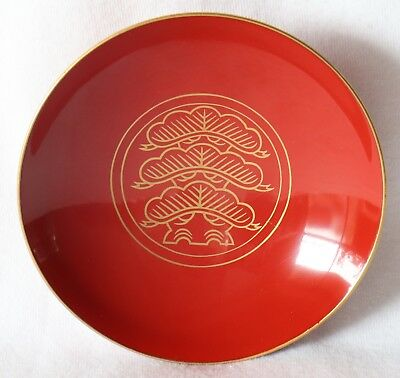 Japanese Vintage Lacquer Ware Sake Cup Wood Red Pine Shrine
