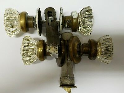 Vintage Antique Brass Knob Works Glass Door Knob Lock 2 Sets no Key
