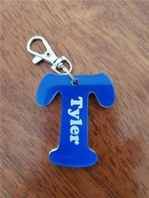 Acrylic Letter Personalised Key Rings, School Bag Tags with Lobster Hook Clip