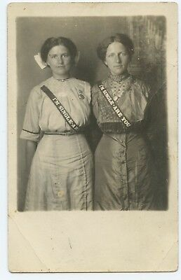 Two Young Women Wearing I'm Single Sashes RPPC