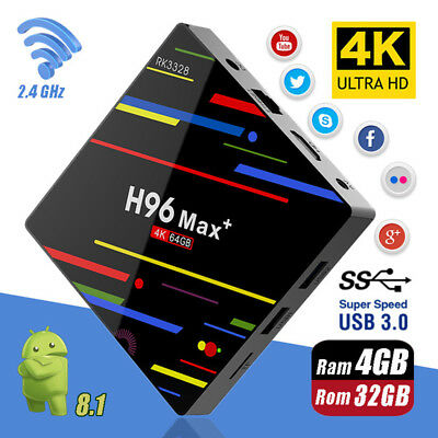 4G+32G Android 8.1 Quad Core Smart TV BOX 4K Media Player Wifi EU H96 Max Plus
