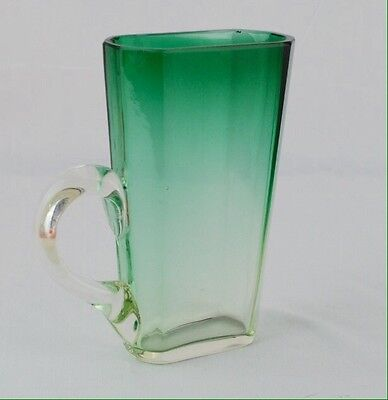 Art Deco Gradient Green Crystal Cup Or Pitcher With Applied Handle
