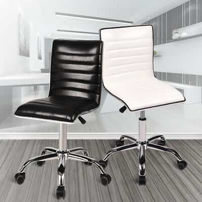 Wondrous Modern Mid Back Armless Ribbed Office Chair Leather Computer Machost Co Dining Chair Design Ideas Machostcouk