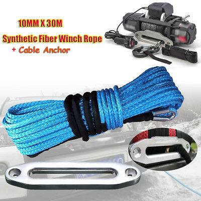10mm x 30m Synthetic Winch Rope Cable 23000LBs Snap Hook & Hawse SUV ATV Vehicle
